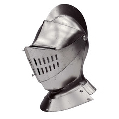 Medieval Knight Armet Helmet with visor. Perspective view. Used for tournaments or battlefields. 3D render Illustration Isolated on white background.