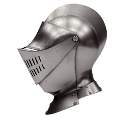 Medieval Knight Armet Helmet with visor. Side view. Used for tournaments or battlefields. 3D render Illustration Isolated on white background.