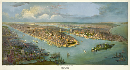New York old aerial view - (chromo). Created by Schmidt, New York, 188- (?)