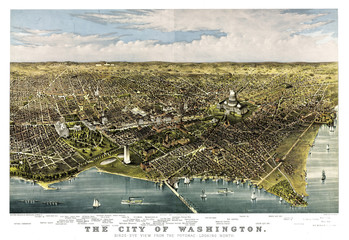 Washington D.C., Old aerial view of from the Potomac. Currier & Yves, New York, 1892
