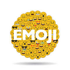 emoji emoticon character faces in a circle with message