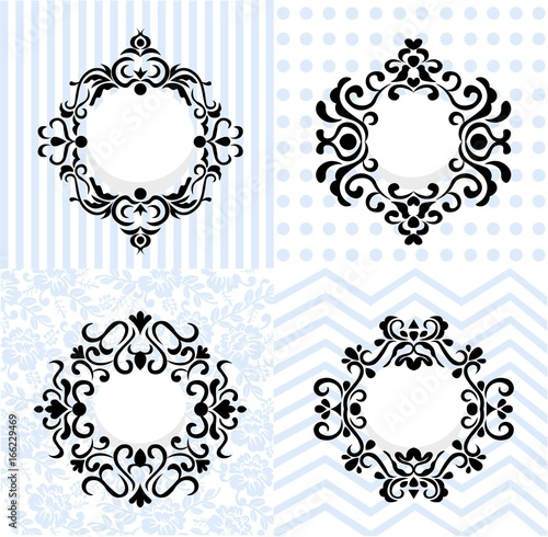 Vintage Mirror Frames Set Vector Collection Of Round And Square Design Element