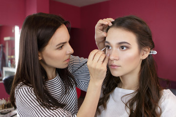 A professional makeup artist doing makeup for a beautiful young woman in beauty salon