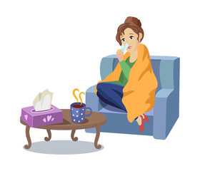 Vector illness concept, cartoon illustration isolated on a white background. Adult woman sitting in armchair in blanket in front of the table with hot tea and napkins suffering from cold, sneezing.