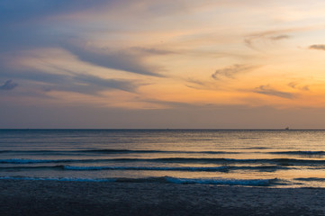 Scenic sunset seascape on tropical beach in Sihanoukville