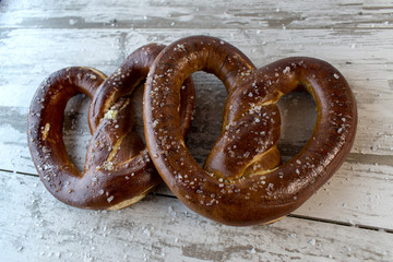 Bavarian Pretzels on rustic white background