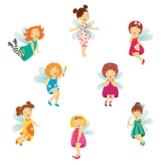 Vector fairy girl set illustration on white background. Cute cartoon smiling child with butterfly wings wearing queen crown isolated. Magic flying kid holding magic star wand. Element for your design