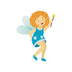 Vector fairy girl illustration on white background. Cute cartoon smiling child with butterfly wings in cute blue dress isolated. Magic flying kid holding magic star wand. Element for your design