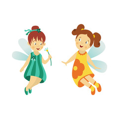 Vector fairy girl set illustration on white background. Cute cartoon smiling child with butterfly wings in cute dress isolated. Magic flying kid. Element for your design