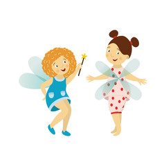 Vector fairy girl set illustration on white background. Cute cartoon smiling child with butterfly wings in cute dress isolated. Magic flying kid holding magic star wand. Element for your design