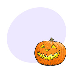 Jack o lantern, ripe orange pumpkin with carved scary face , traditional Halloween symbol, sketch vector illustration with space for text. Hand drawn Halloween pumpkin, jack o lantern