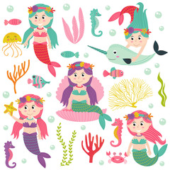 set of isolated mermaid with marine animals and plants -  vector illustration, eps