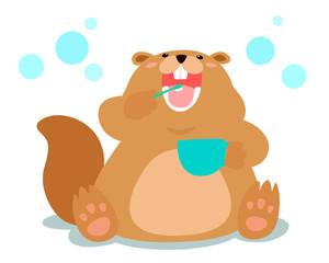 Happy fluffy beaver love brushing teeth cartoon vector.