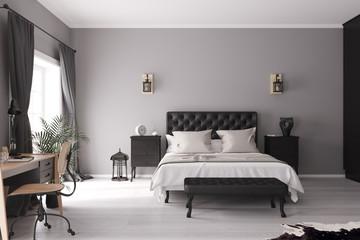 Blick auf ein Bett in einem Schlafzimmer
