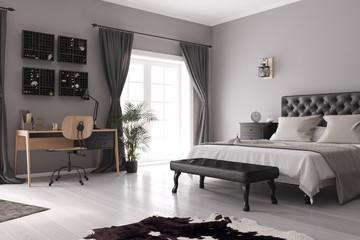 Blick auf ein Bett und Schreibtisch in einem Schlafzimmer