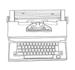 Vintage Electric Typewriter Royal Academy Typewriter hand drawn cute line art vector illustration