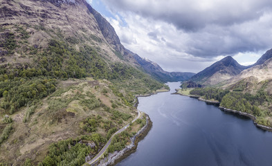 Aerial view of Loch Leven towards Caolasnacon and KInlochleven, Lochaber