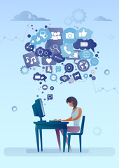Woman Using Computer With Chat Bubble Of Social Media Icons Network Communication Concept Vector Illustration