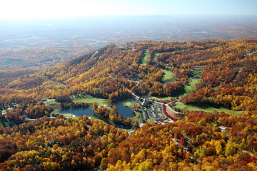 Aerial Photo of Hillside in the Fall with colorful leaves and trees