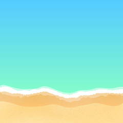 Top view of an empty sea beach. Summer day and relax. Many fine particles of sand. Empty beach