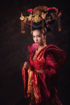 Asian Chinese women in national dress