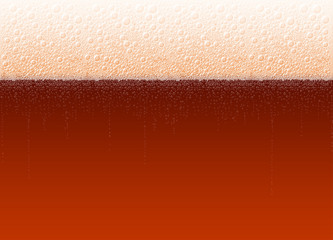 Foamy beer with a bubbles. The variety Dark Stout Porter. High detailed realistic vector background illustration for Oktoberfest beer festival. No Mesh