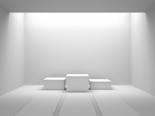 Empty white winners podium in white room with light from ceiling. 3D rendering.