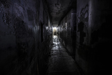 ghostly person standing in a dark hallway of an abandoned building
