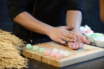 Close up hand chef making dessert in kitchen luxury
