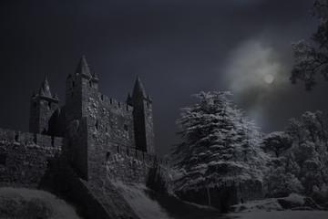 Fotorolgordijn Kasteel Old castle in a full moon night