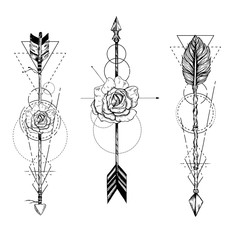 Tribal arrow in ethnical pattern with feathers and roses