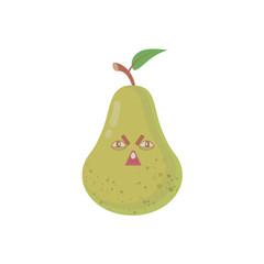 Cute cartoon pear. Fruit in flat modern style.
