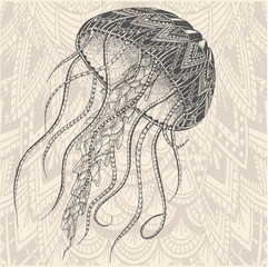 Patterned jellyfish. Tattoo design. It may be used for design of a t-shirt, bag, postcard, a poster and so on.