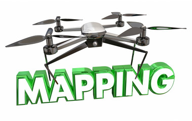 Mapping Aerial Video Photography Drone Flying Carrying Word 3d Illustration