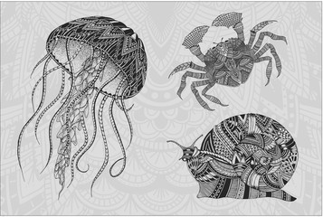 Patterned jellyfish, crab and snail. Tattoo design. It may be used for design of a t-shirt, bag, postcard, a poster and so on.