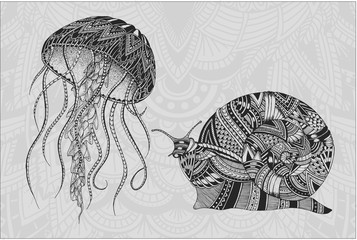 Patterned jellyfish and snail. Tattoo design. It may be used for design of a t-shirt, bag, postcard, a poster and so on.