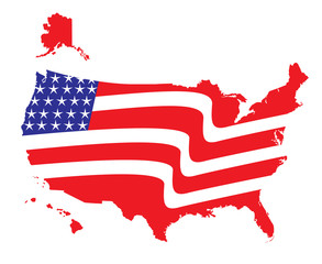 US American Flag Map with Flag illustration icon vector image logo
