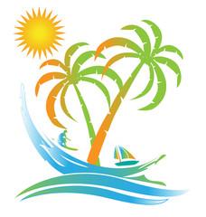 Tree palms tropical island sunny beach paradise logo id card symbol icon