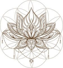 Filigree lotus flower on sacred geometry sign, vector handdrawn illustration