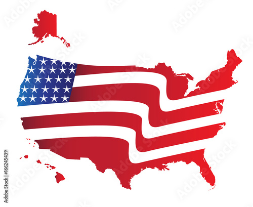USA Map American Flag colors illustration icon vector image logo ...