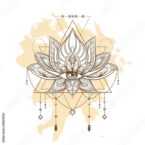 Filigree Lotus Flower On Sacred Geometry Sign Vector Handdrawn