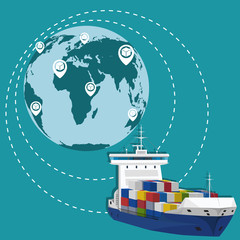 Global network of commercial maritime shipping