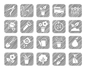 Horticulture, floriculture, horticulture, monochrome icons, vector, hatched. Drawings of garden tools and gardening goods. Hatch grey pencil simulation.