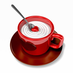 cappuccino coffee in red tea cup with 3d red heart piece. Valentine 3D Illustration Design Series.