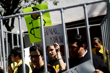Members of Amnesty International hold signs inside a mock prison cell during a demonstration against the human rights abuses, demanding the release of activists arrested in Turkey, outside the Turkey's Embassy in Mexico City