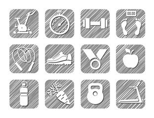 Sport and fitness, monochrome icons, vector, hatched. Drawings of sports equipment and attributes of a healthy lifestyle. Hatch grey pencil simulation.