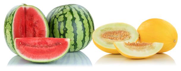 Melonen Honigmelone Wassermelone Früchte Frucht Obst Sommer Freisteller freigestellt isoliert