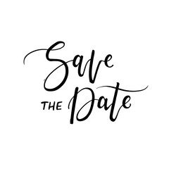 Save the Date. Modern brush calligraphy.