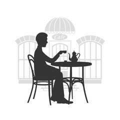 Men behind a little table in cafe drinks coffee a vector illustration.