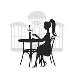 Girl behind a little table in cafe drinks coffee a vector illustration.